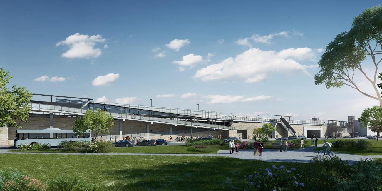 A rendering shows what Winchester Station will look like after accessibility improvements, as viewed from Winchester Common
