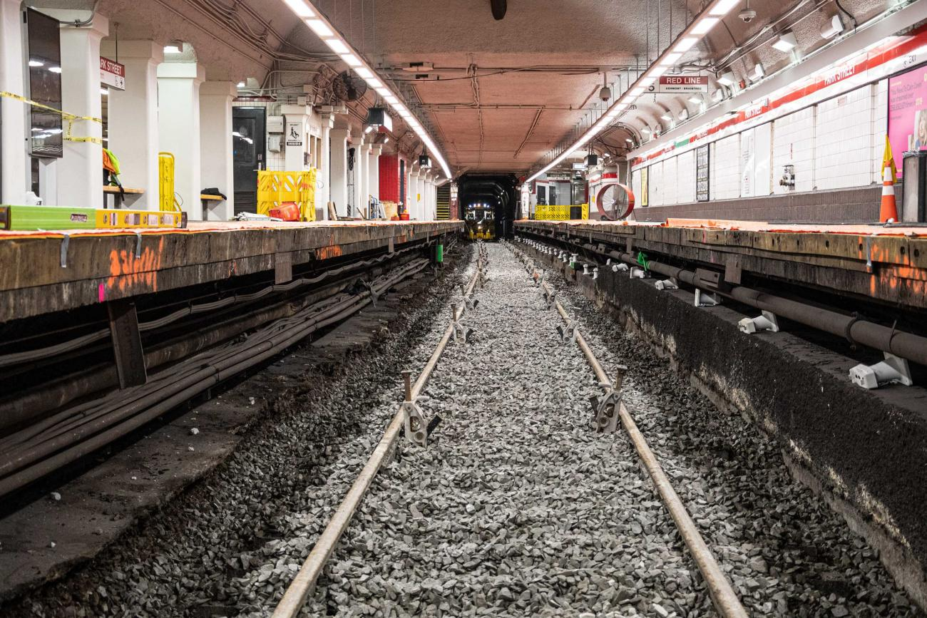 The track area on Park Street's southbound side is prepped for track replacement as part of the December 13 – 15, 2019, Red Line weekend shutdown
