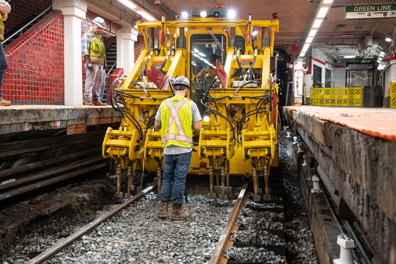 Crew members work on track replacement at Park St during the December 13 – 15, 2019, Red Line weekend shutdown