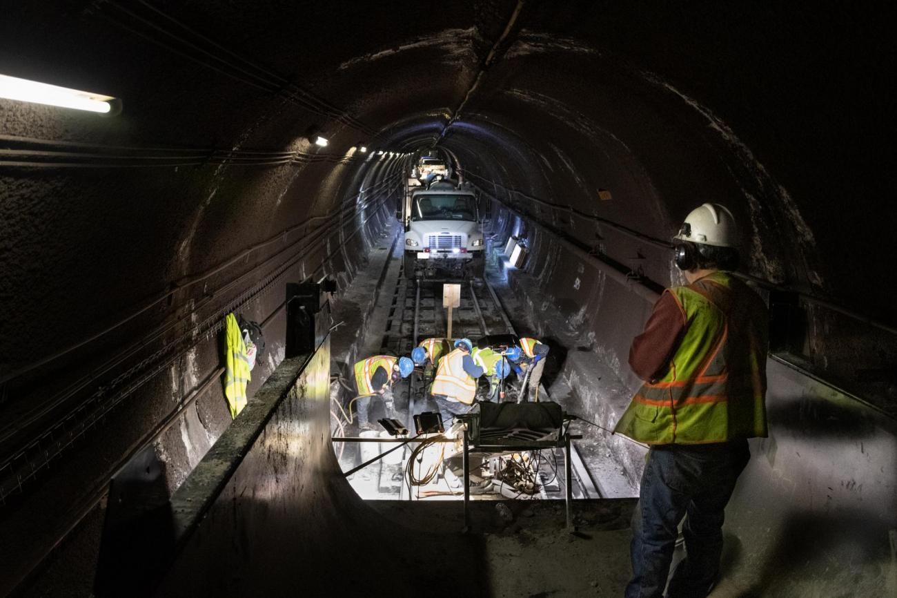 A crew works on floating slab replacement during a 2020 Red Line weekend shutdown