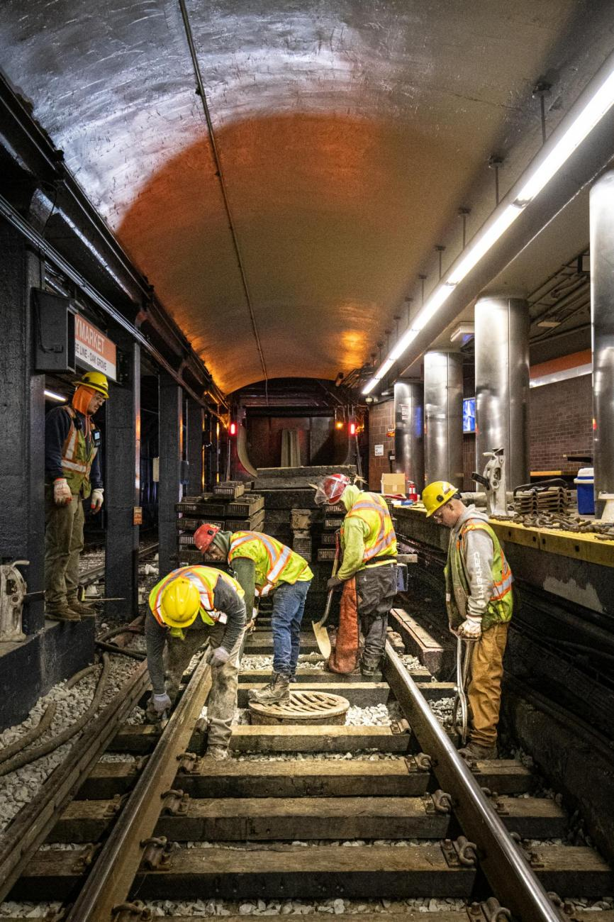 A crew replaces rail ties at Haymarket as part of the final Orange Line weekend shutdown of winter 2020