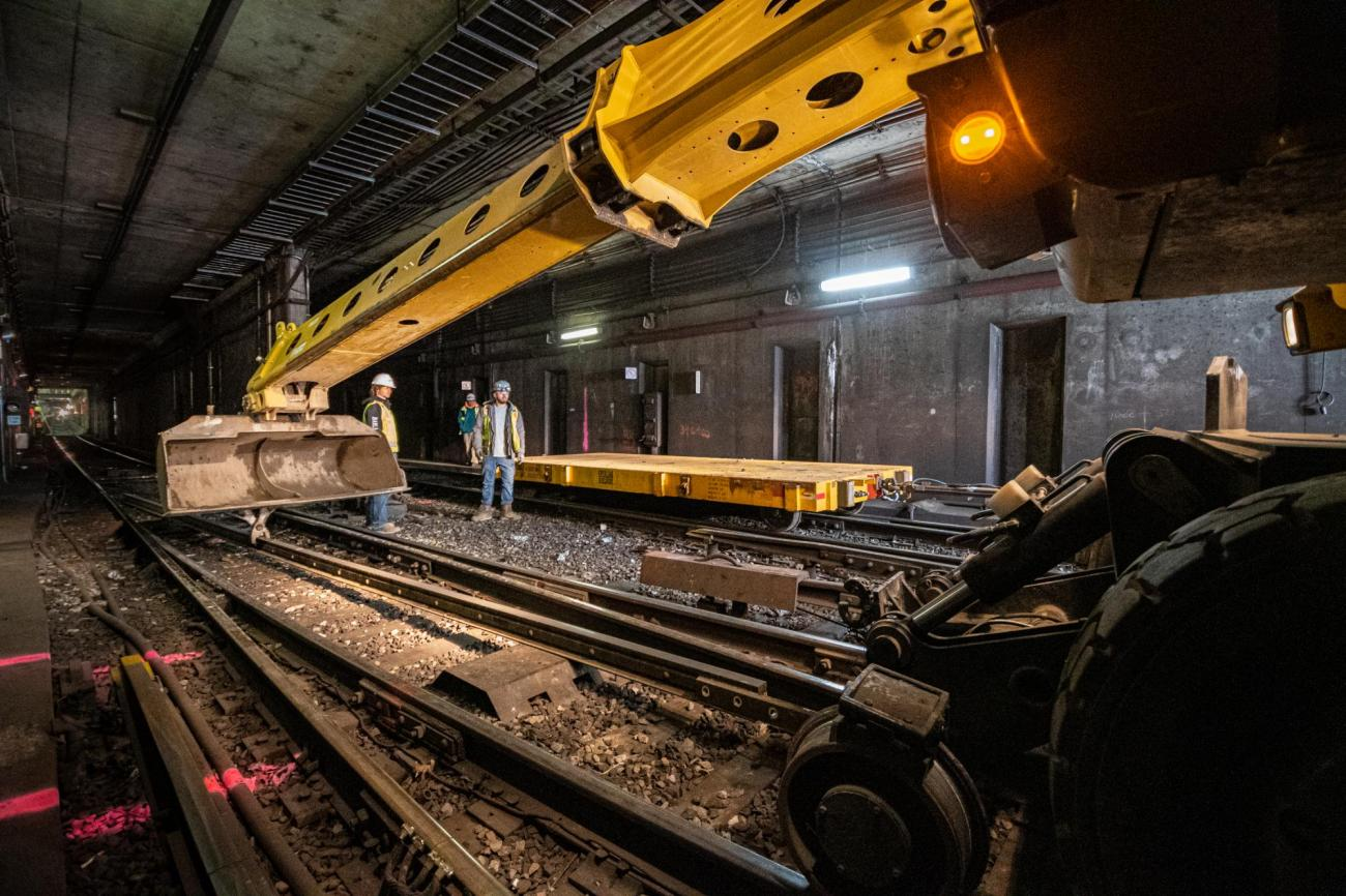 Crew members bring in replacement rail at North Station during the February 7 – 9, 2020, Orange Line weekend shutdown