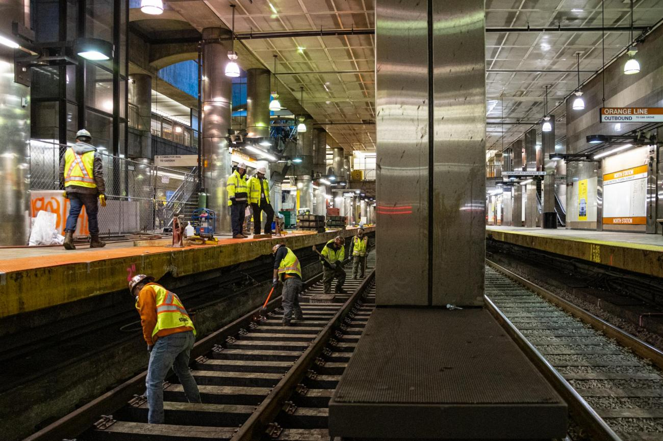 Crew members prep North Station's southbound side for track replacement during the February 7 – 9, 2020, Orange Line weekend shutdown