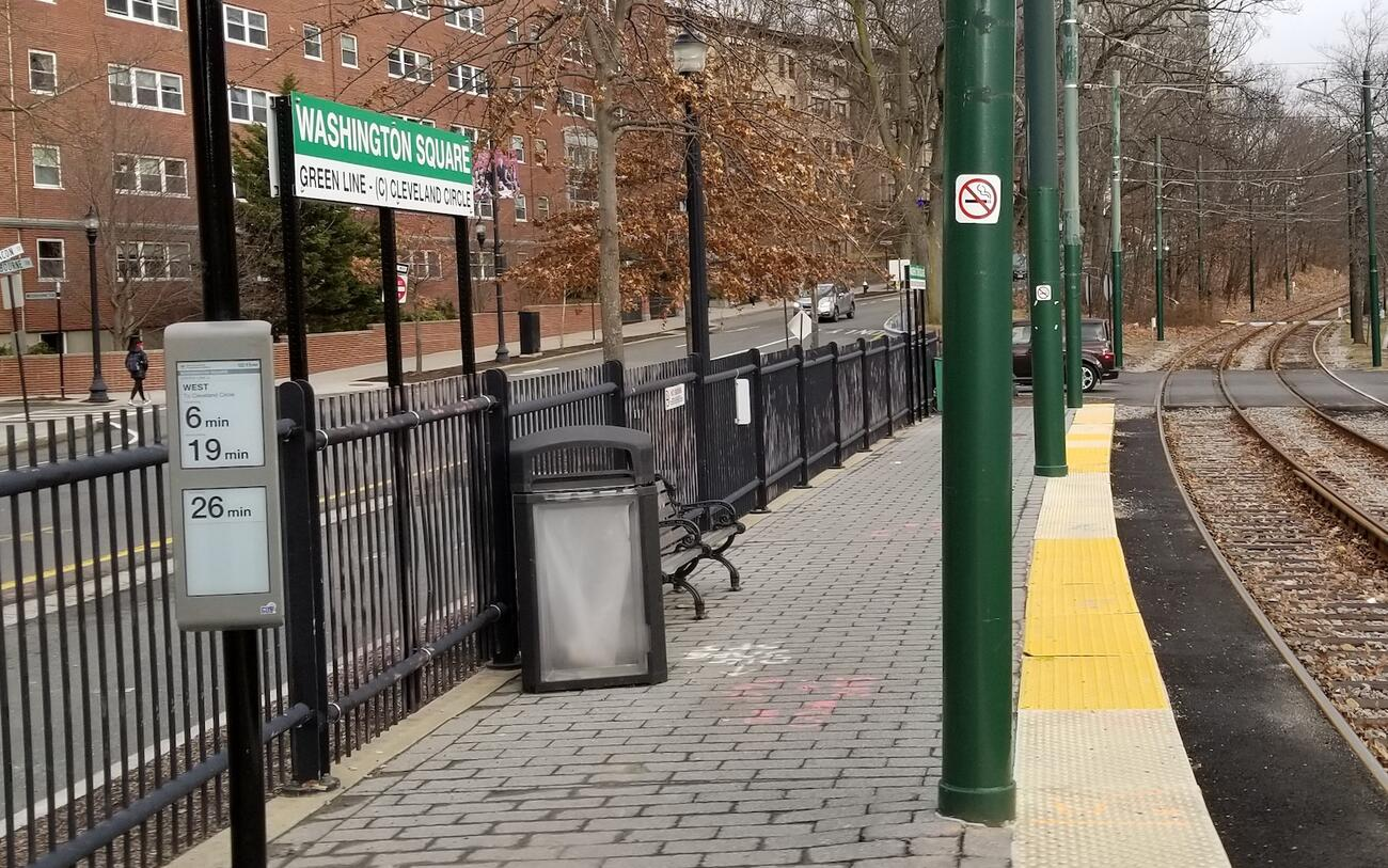 An E Ink sign at Washington Square on the Green Line C (February 2020)