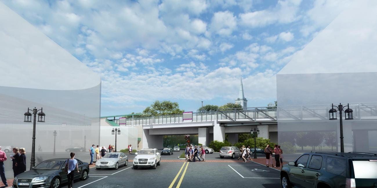 A rendering of Quill Rotary outside Winchester Station, as viewed from Mount Vernon Street.
