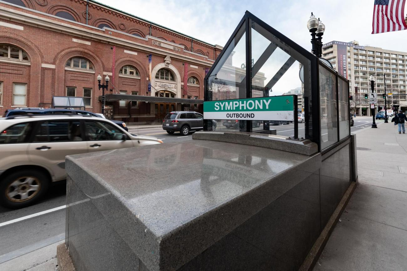 Entrance to the Symphony Station on the Green Line, with the Boston Symphony Orchestra building in the background.