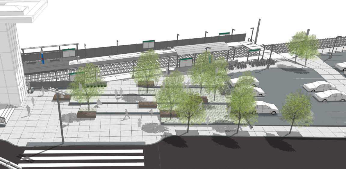 A rendering of what the new Brookline Hills Station and plaza will look like from an aerial view