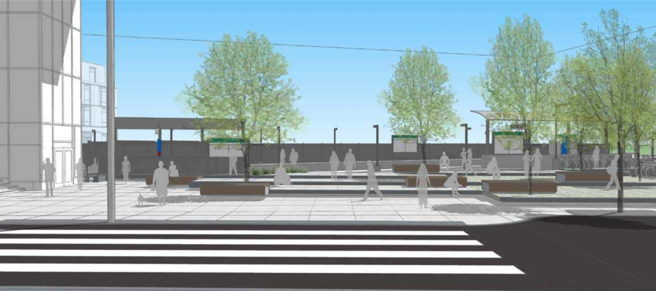 A rendering of the new Brookline Hills Station plaza as seen from the Tappan Street crosswalk
