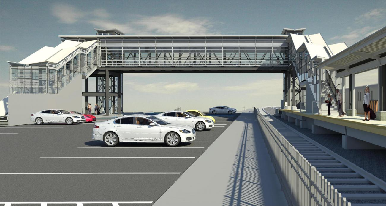 Rendering of what the pedestrian bridge at Worcester Union Station will look like when viewed from the the upper parking lot