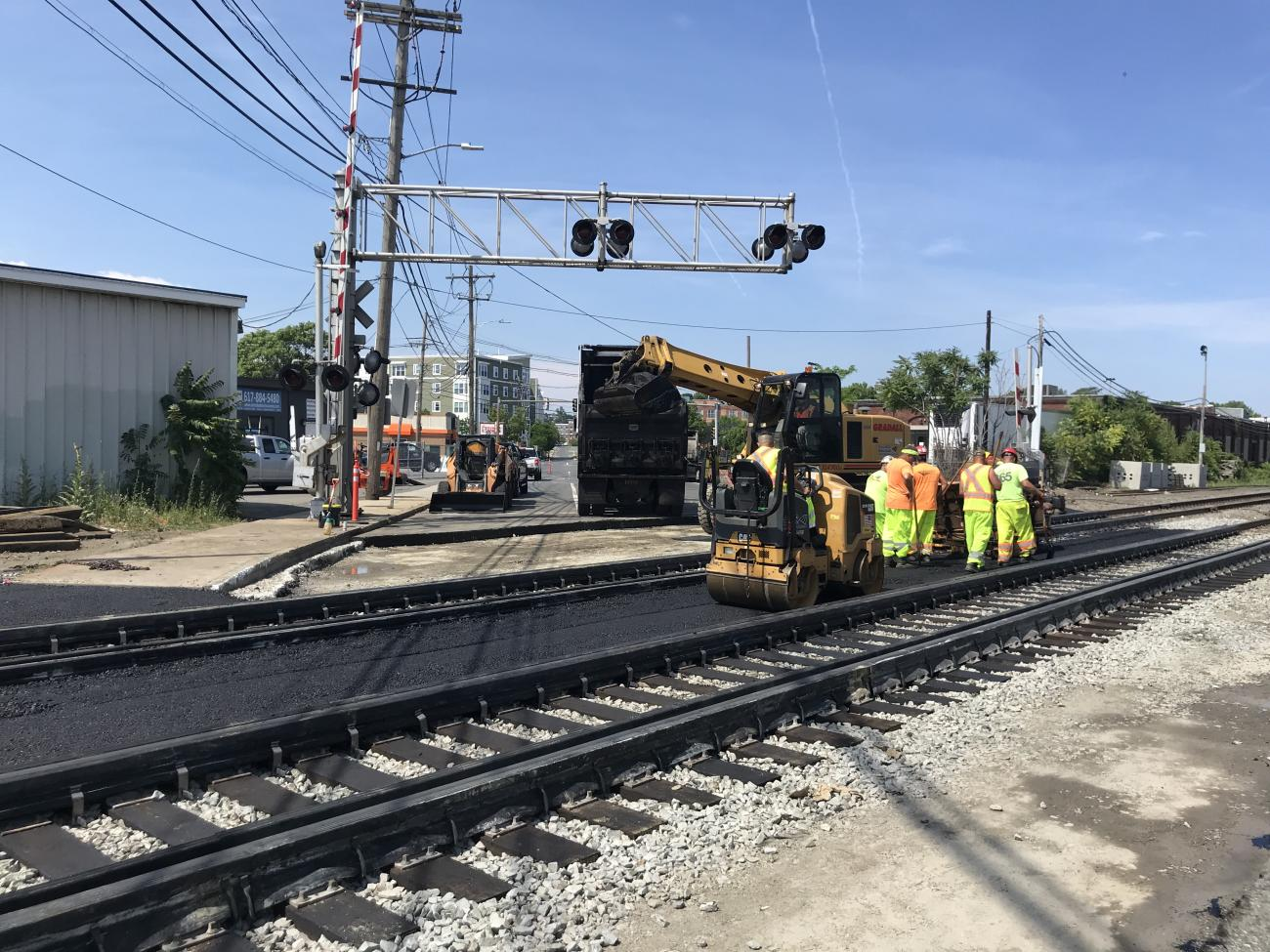 The freshly paved rail crossing at Eastern Avenue in Chelsea