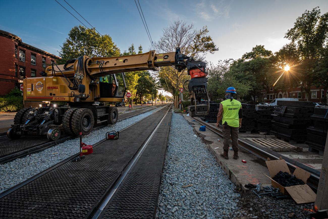 Crews use machinery to replace platform edges