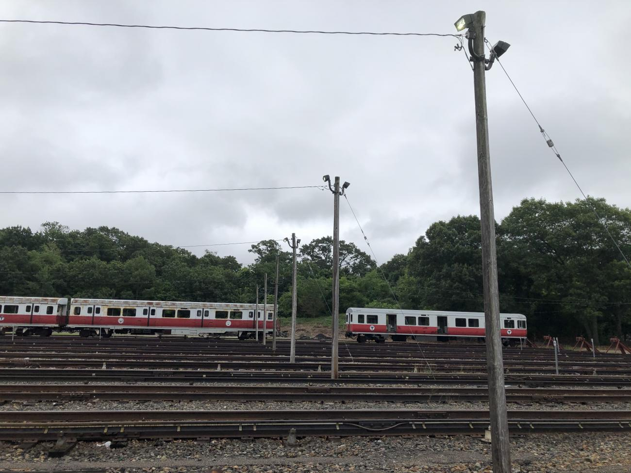 Red Line vehicles are stored on storage tracks at Codman Yard