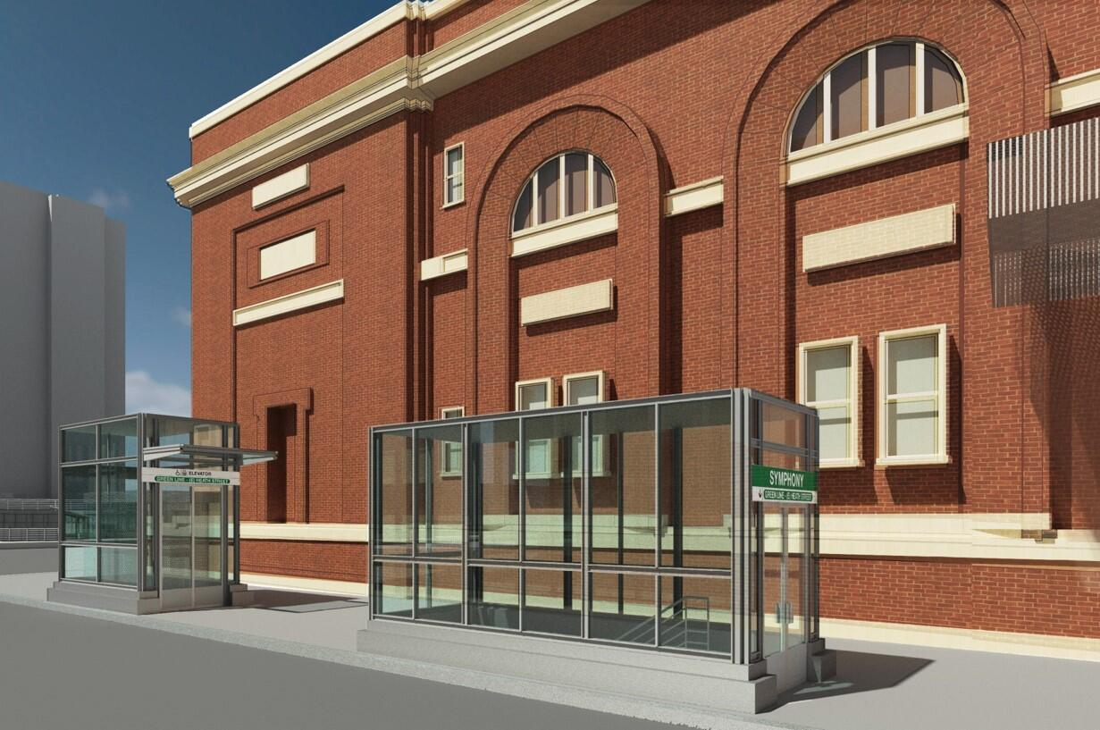 A rendering of two of the four new outbound entrances at Symphony Station
