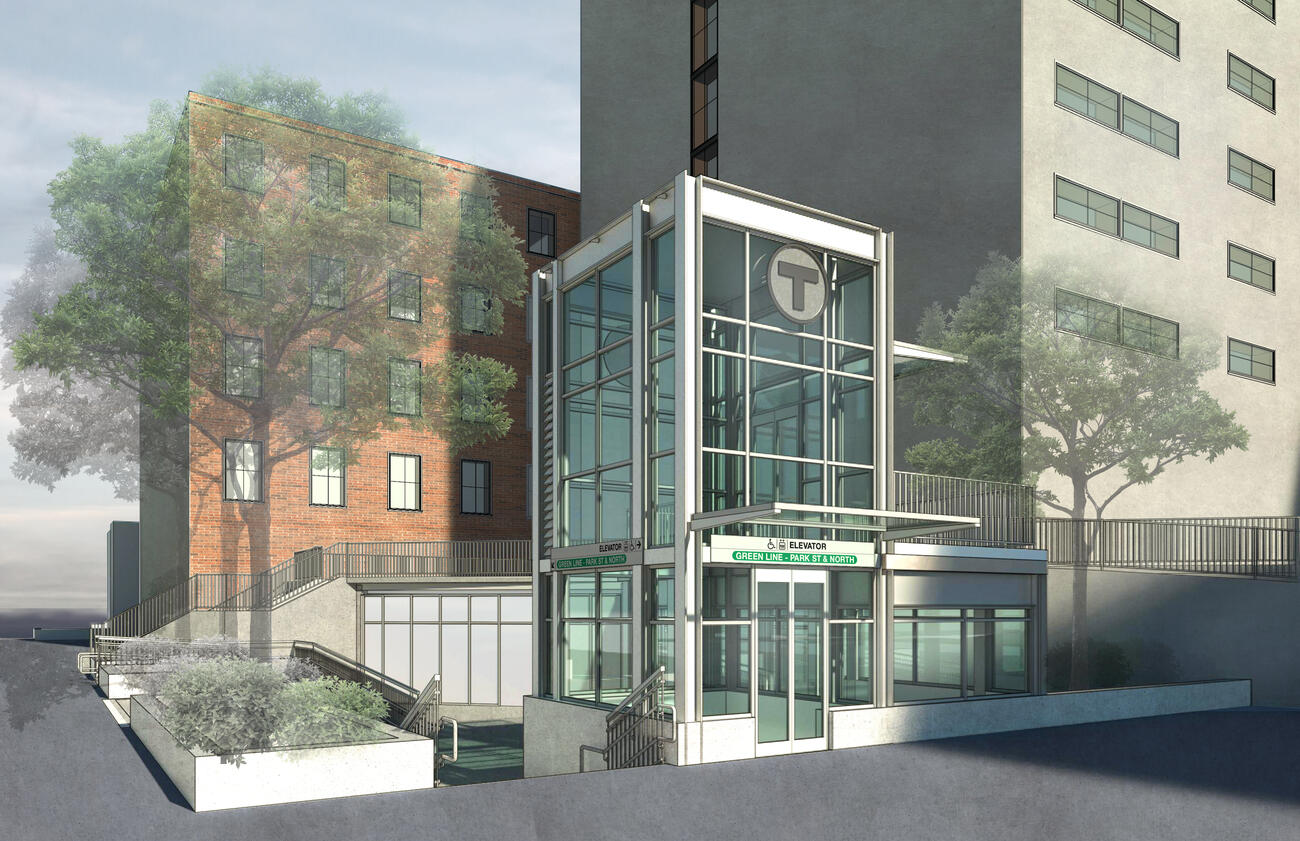 A rendering of the new accessible elevator entrance at Symphony Station