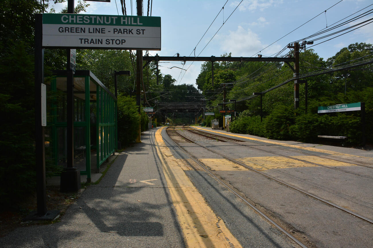 The Chestnut Hill station platform with small covered waiting area