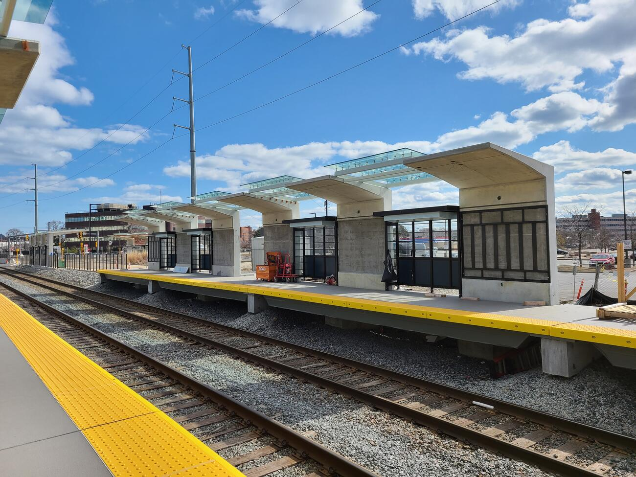 Canopies are installed on the east end of the outbound platform for the new Chelsea Commuter Rail Station