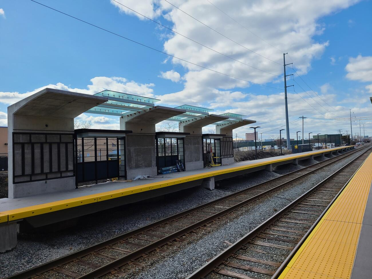 Canopies are installed on the west end of the outbound platform for the new Chelsea Commuter Rail Station