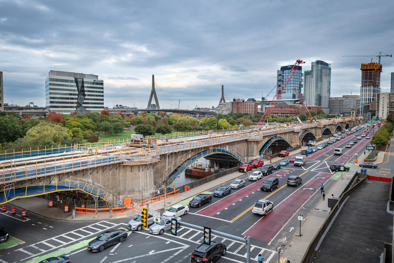 Underpinnings of the Lechmere Viaduct are wrapped and protected during reconstruction.