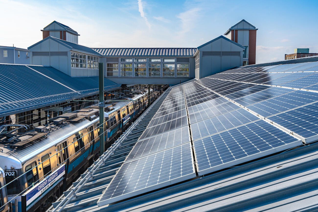 Solar panels on the roof at Orient Heights Station