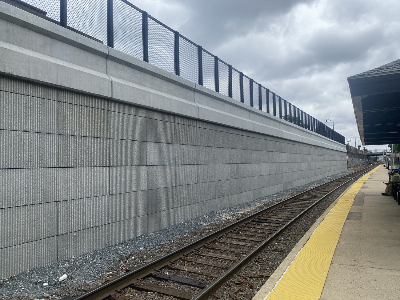 Completed retaining wall, Porter Square (June 2021)