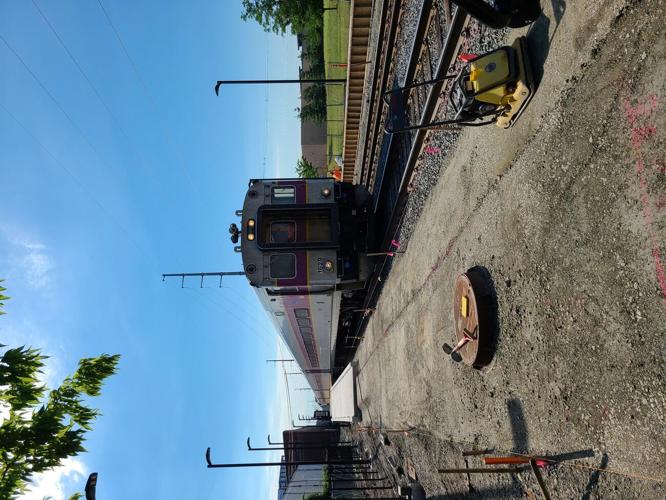 The crushed stone base for the northwest walkway to the new Chelsea Commuter Rail Station is in place.