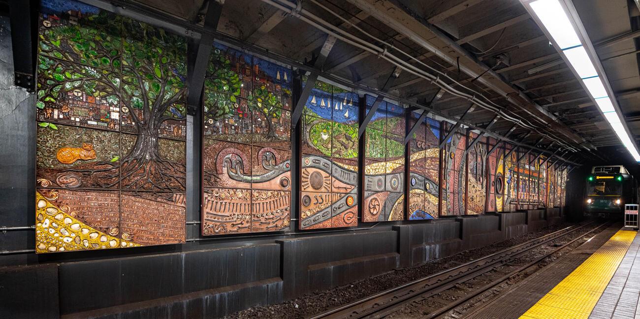 Lilli Ann K. Rosenberg's mosaic in Park Street Station.