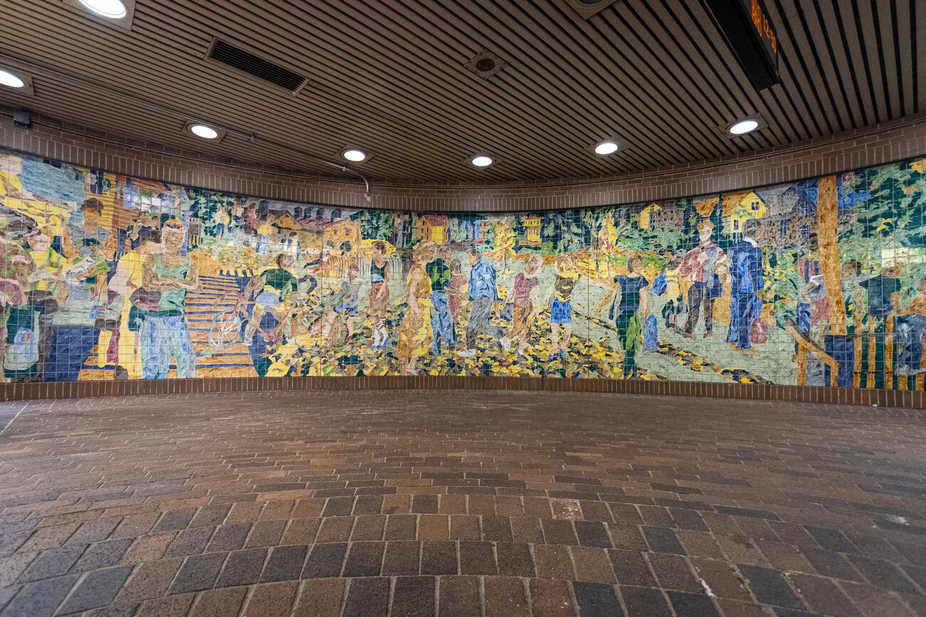 Ceramic tiled mural by Malou Flato at Stony Brook Station.