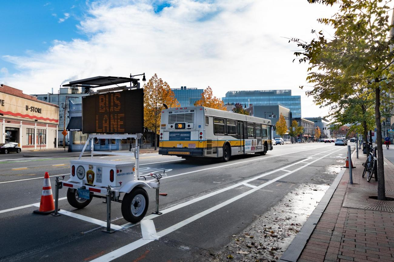 Bus lane on Massachetts Ave in Cambridge, near Central Square (November 2018)