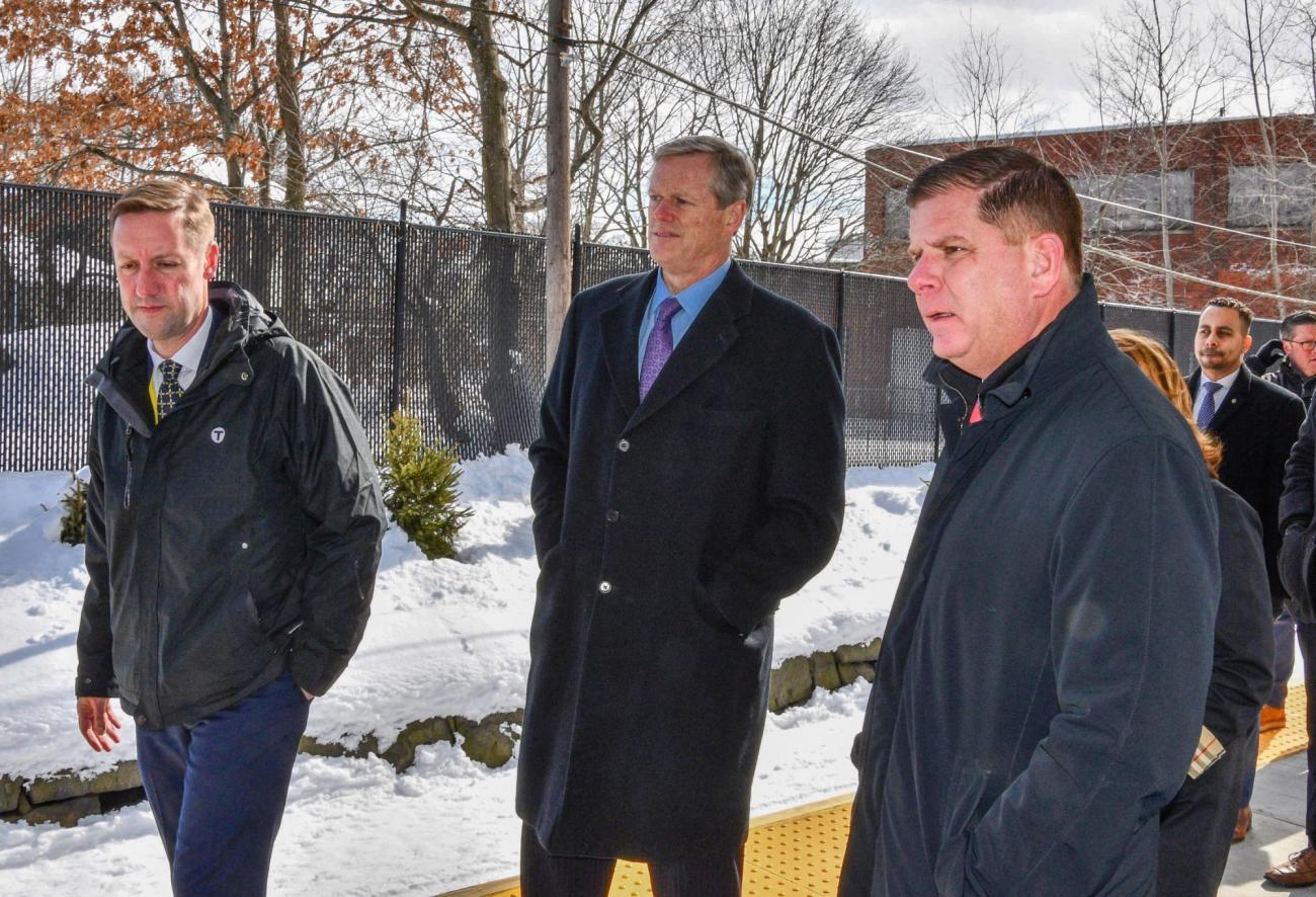 MBTA General Manager Steve Poftak, Governor Charlie Baker, and Mayor Martin J. Walsh at the Blue Hill Ave ribbon cutting