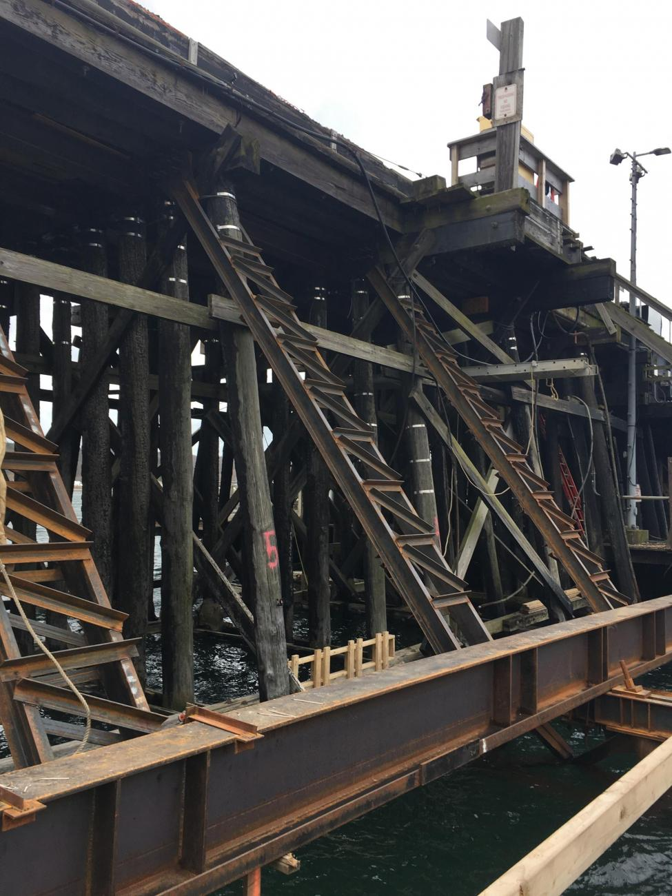 Ground level view of the existing timber trestle underneath the Gloucester Drawbridge.