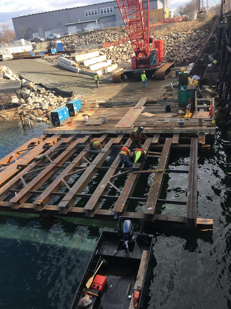 Intalling a temporary work platform, as part of Gloucester Drawbridge Replacement construction