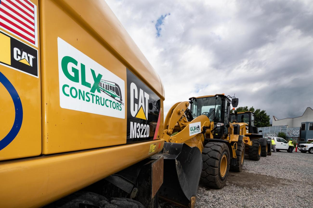 Heavy machinery with GLX branding on the side