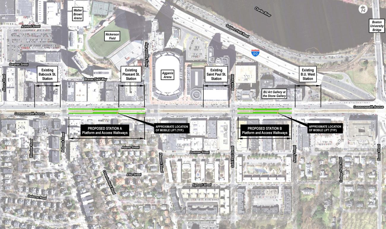 Aerial view of existing platforms and proposed platforms and access walkways. Consolidating the Babcock St and Pleasant St stops, the new platform will be between Harry Agganis Way and Babcock St. Consolidating the St. Paul St and BU West stops, the new platform will be between St. Paul St and Amory St.