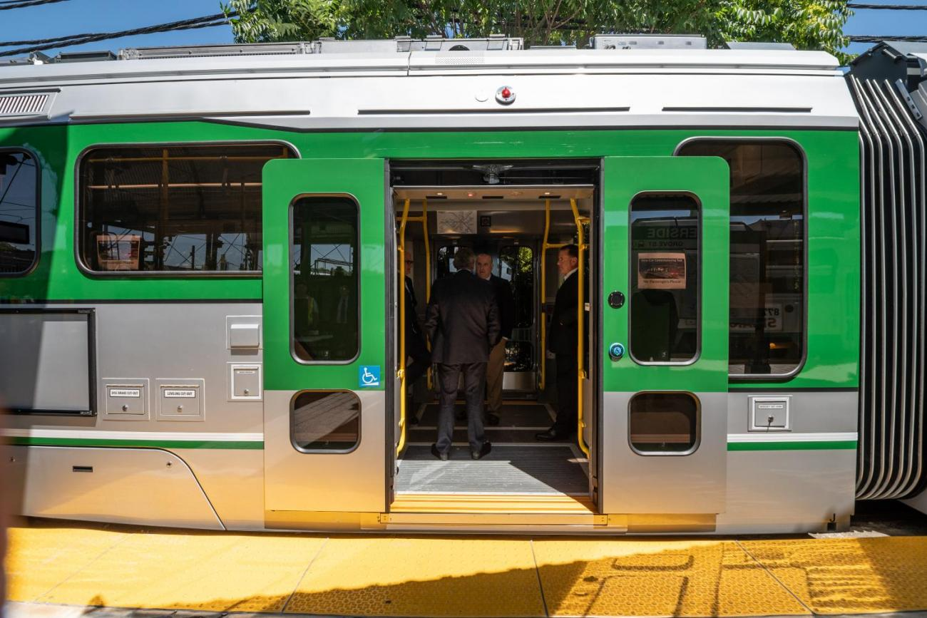 Sliding doors opened on new Green Line car (July 2018)