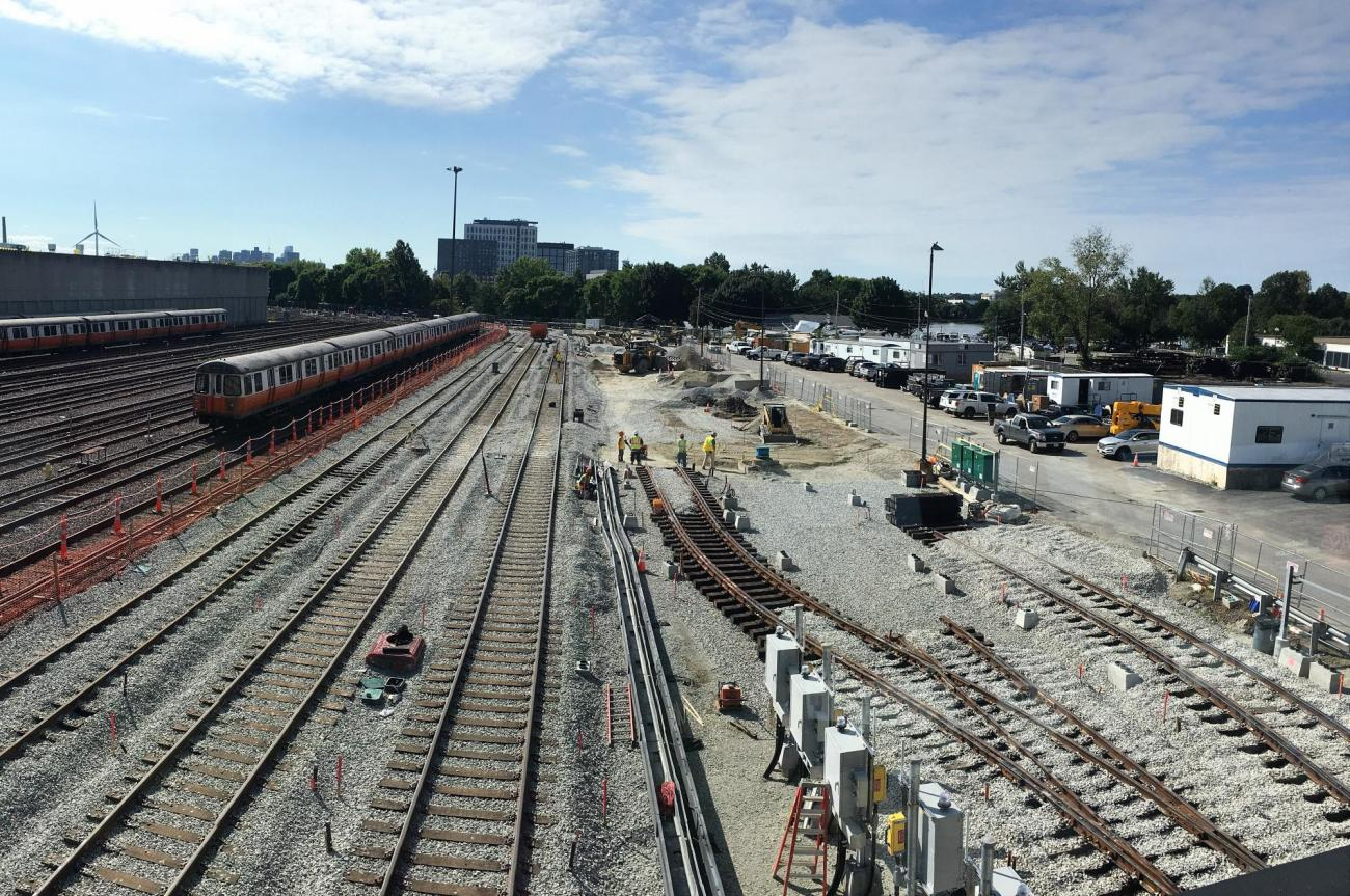 Orange Line Wellington Yard expansion, tracks 33-38, with a train on the left