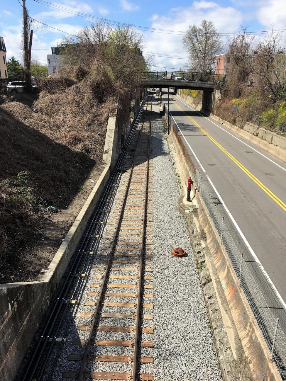 View of the Test Track looking south from West 4th Street in South Boston (April 2019)
