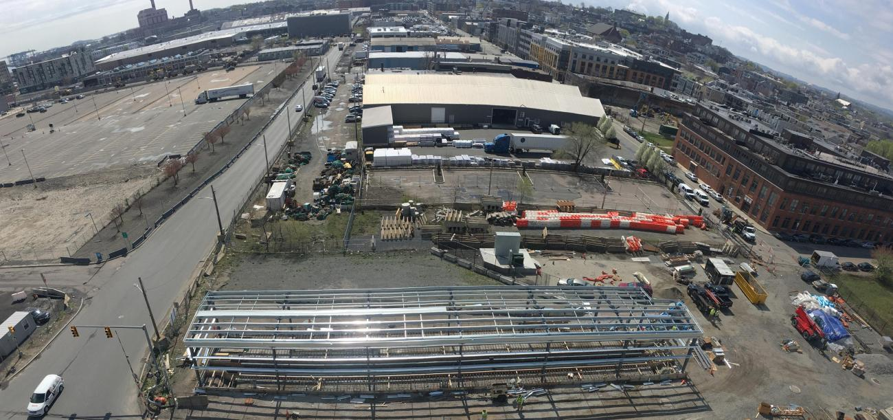 View from above of the vehicle testing facility and Cabot Yard 61 (April 2019)