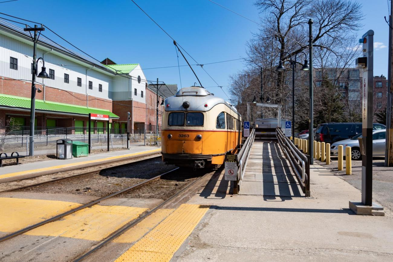 A Mattapan Line trolley at Milton Station, next to the access ramp