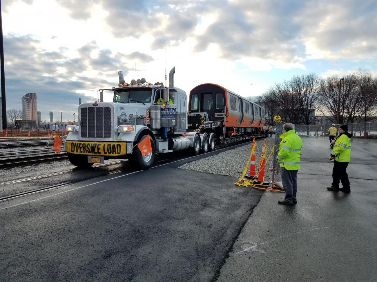Orange Line Production Car Delivery from Springfield, MA to the Wellington Car House (January 9, 2019)