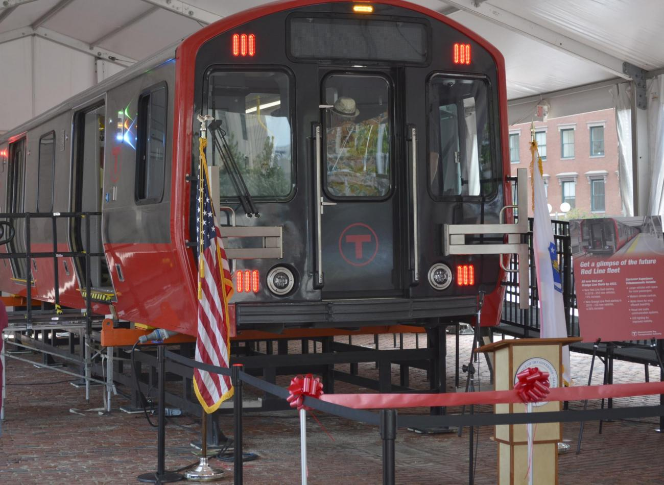 Red Line mock-up car on display in City Hall Plaza