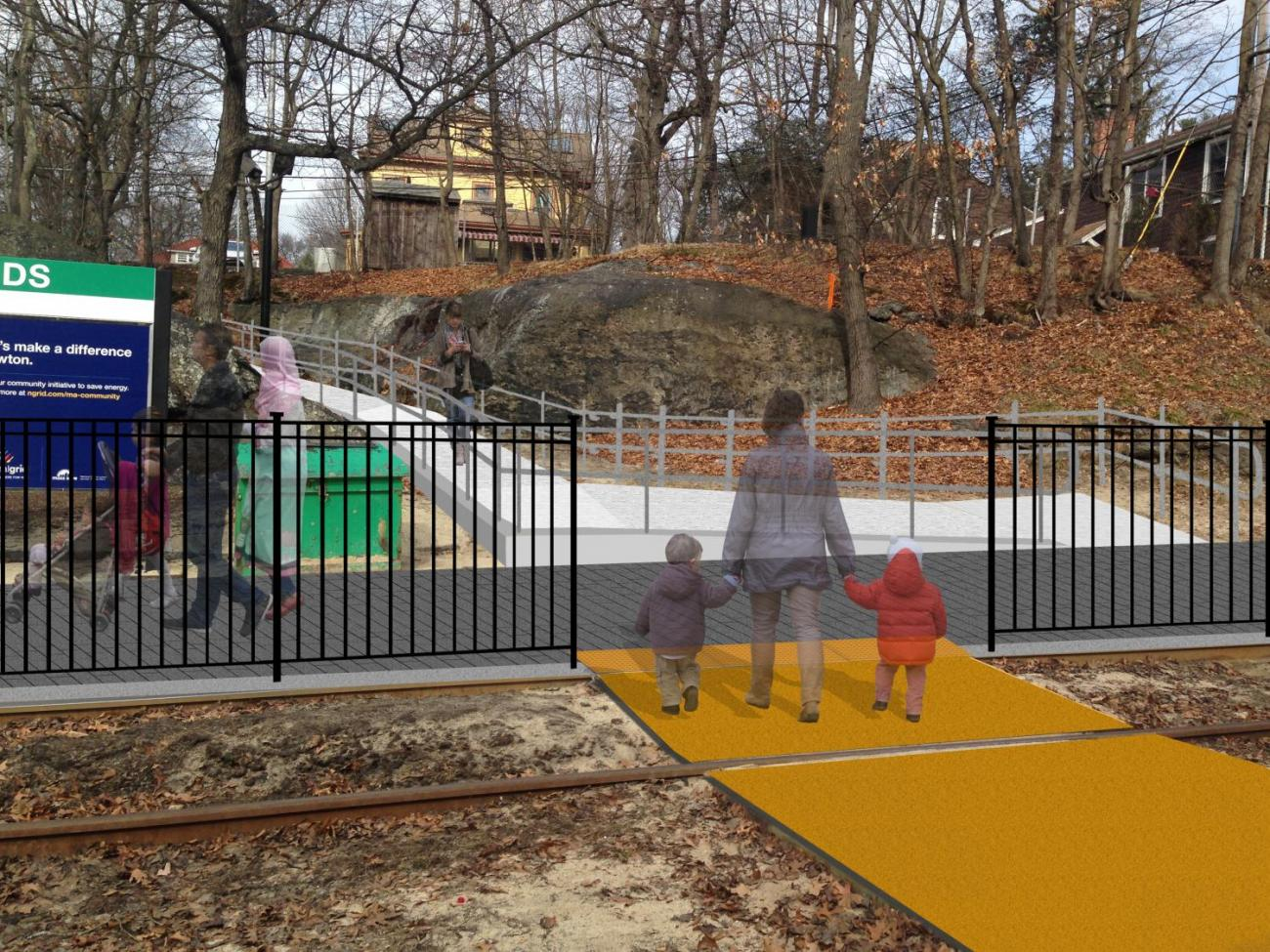 3D rendering of the accessible ramp from Station Ave