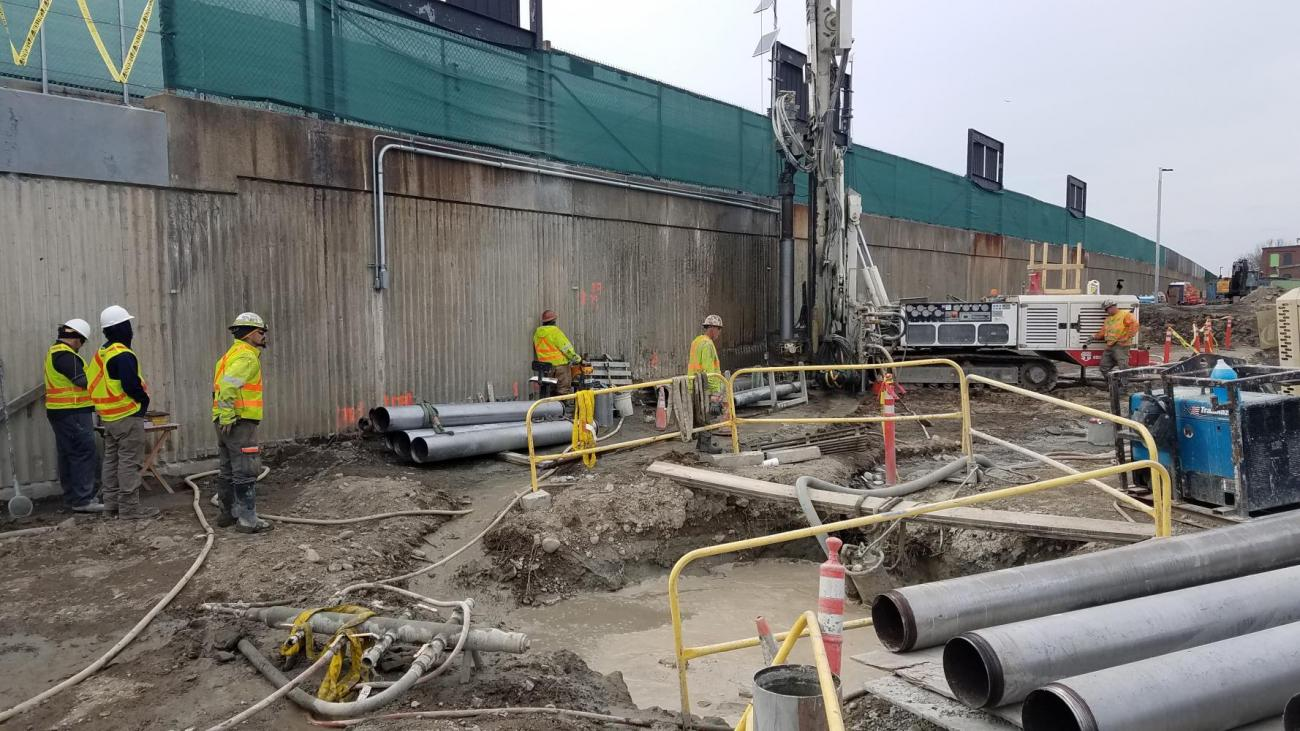 Subcontractor drilling minipile at headhouse (March 1, 2018)