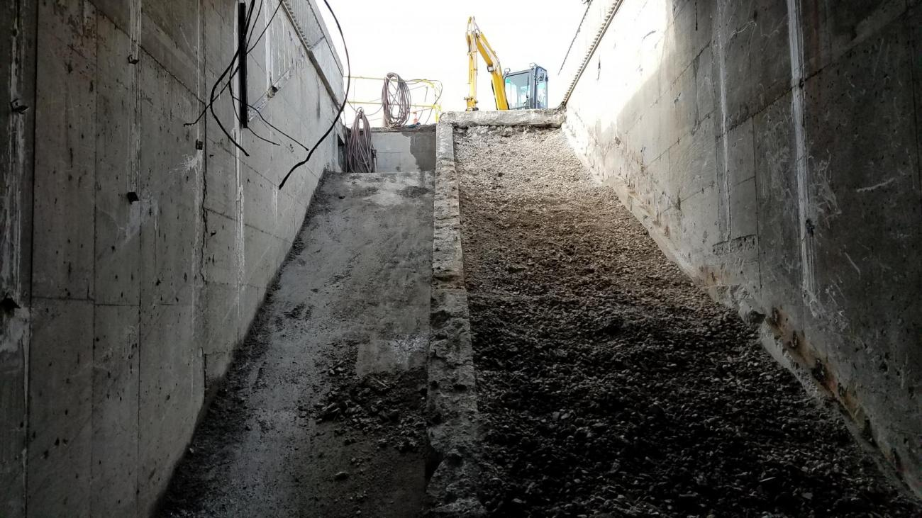 Completed demolition of stairs and escalator at Wollaston (March 15, 2018)