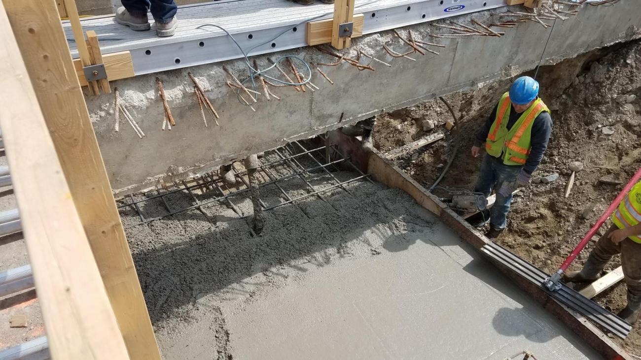 Concrete placement on platform footing (April 12, 2018)
