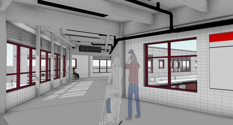 Rendering of improvements to Wollaston Station, including a bridge allowing access to the platform