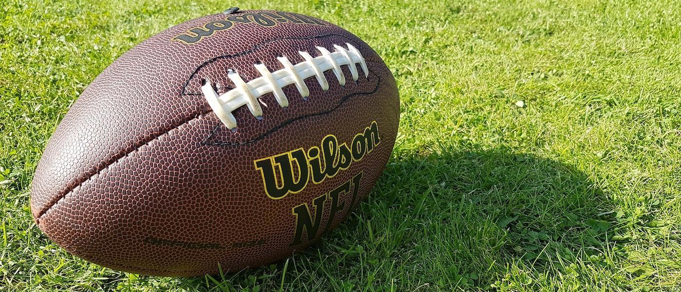 football resting on field
