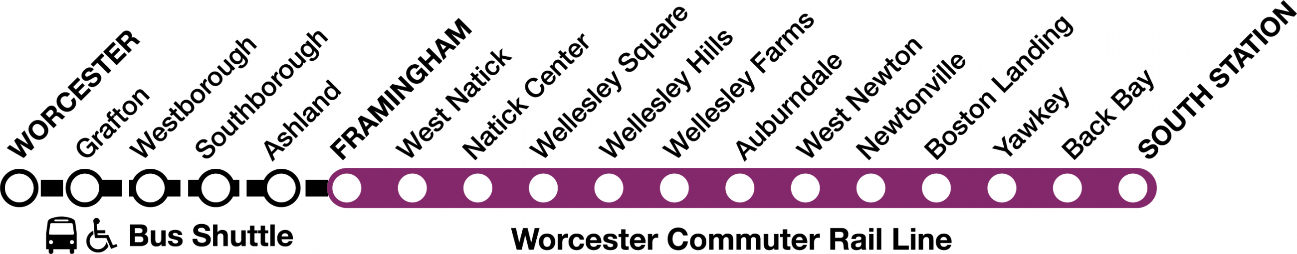 For weekends May 26 to June 17, bus shuttles replace train service between Worcester and Framingham stations.