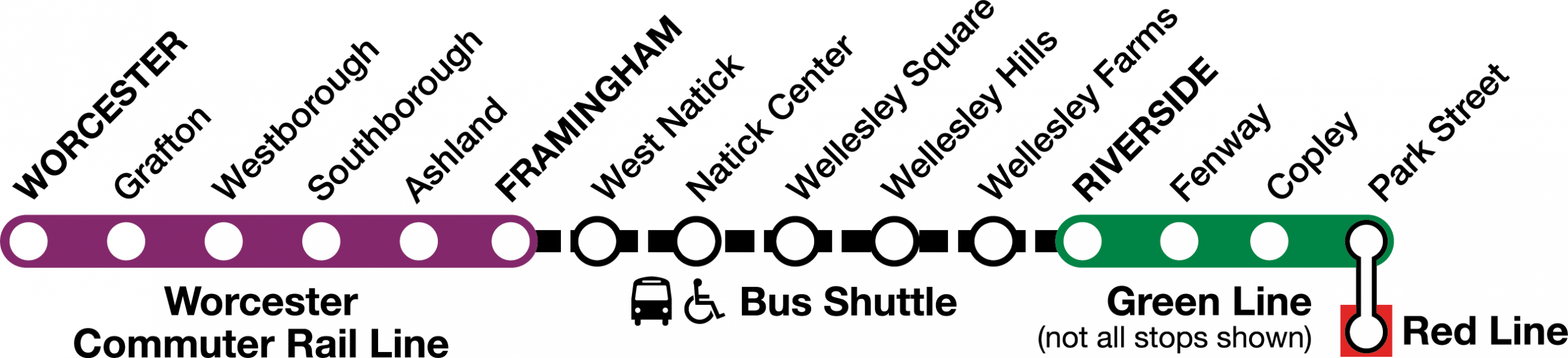 For weekends June 23 to July 29, bus shuttles replace train service between Framingham and South Station.