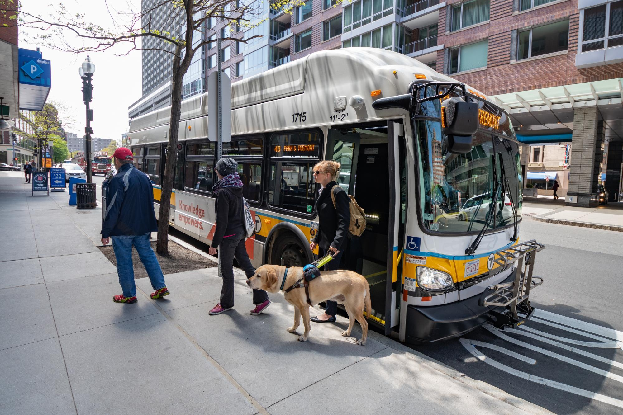 customer exiting bus with guide dog