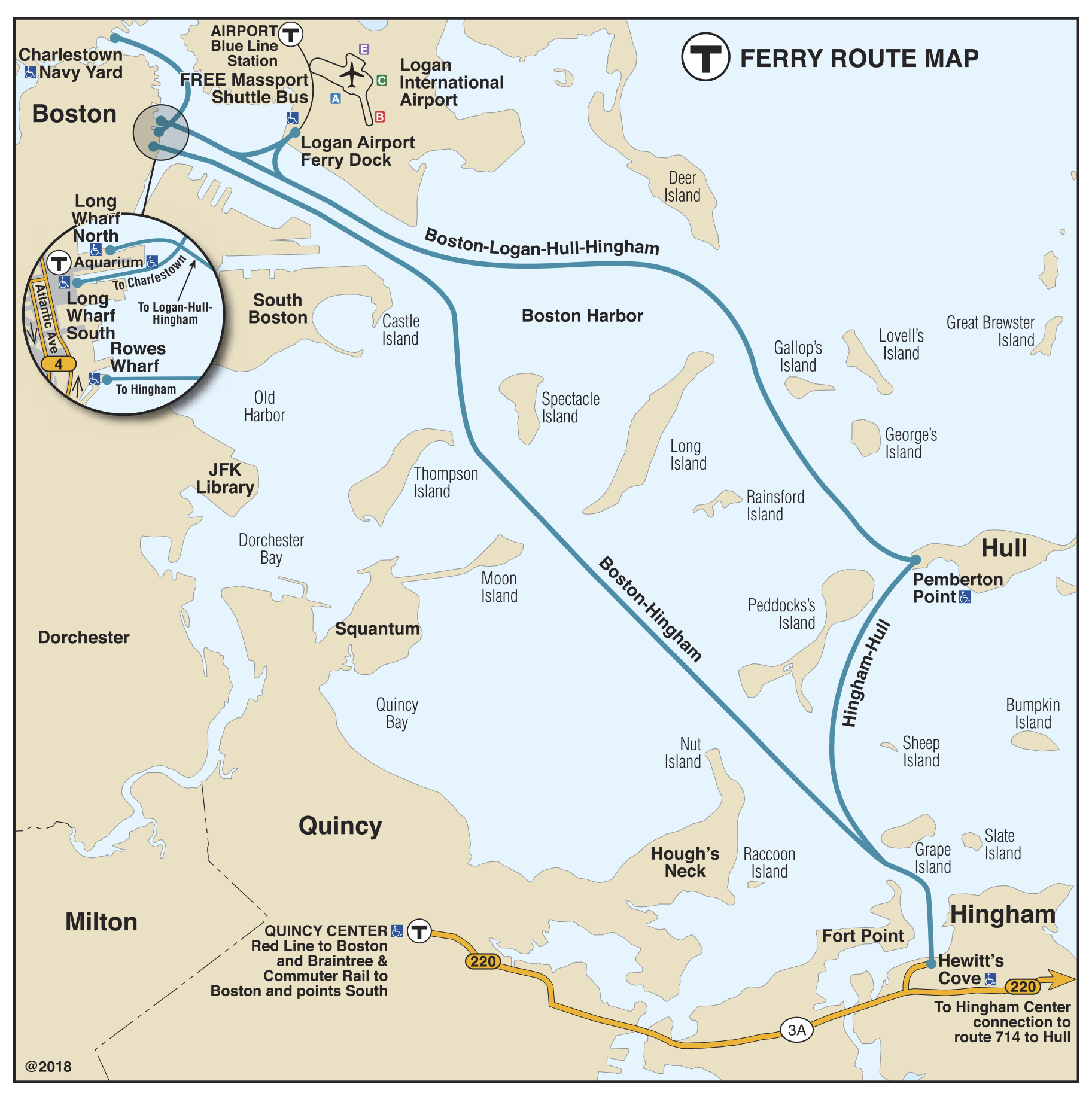 Ferry map illustrating the Charlestown and Hingham/Hull ferry routes